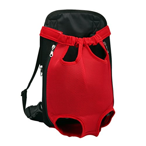 YOUJIA Masche Haustier Rucksäcke Hundetragetasche, Hund Katze Transporttasche Carrier Tasche Vorne Brust Rucksack (XL, Rot)