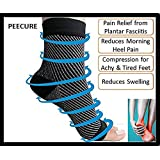 Peecure Compression Socks For Plantar Fasciitis Heel Pain Relief Foot Ankle Support - Sleeve Style (S/M, Black)