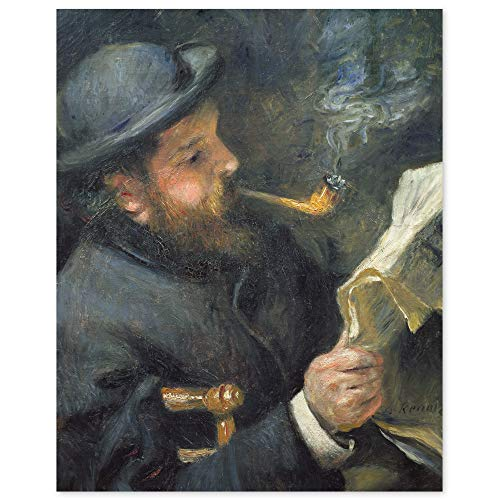 JUNIWORDS Poster, Pierre Auguste Renoir, Claude Monet mit Pfeife beim Zeitunglesen, 20 x 25 cm