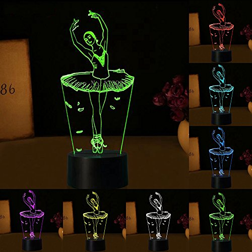 3D ILLUSION Lampe Ballett Mädchen LED USB 3D Night Lights 7Farben blinkende Novelty LED Tisch Lampe als Kinder Nachttisch Dekorationen