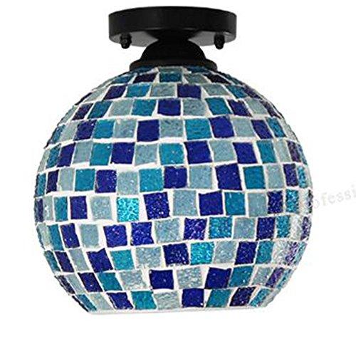 Deckenleuchte Glasmalerei (WHALE E27 Tiffany Mittelmeer Glasmalerei Deckenleuchten Wohnzimmer Esszimmer Schlafzimmer Balkon Garderobe Küche Persönlichkeit Leuchten Ac220v-240V)