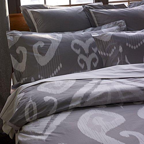 zestt 100% Bio Baumwolle Jakarta Ikat Bettbezug oder Sham, Ikat Muster, 100 % Bio-Baumwolle, Grau/Weiß, xl