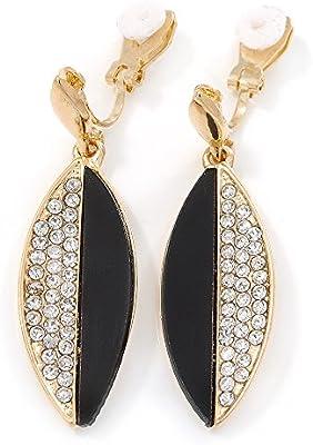Acrílico de color negro, cristal claro de Clip en los pendientes en oro de la galjanoplastia - 45 mm L