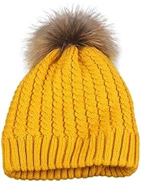 Tongshi Las mujeres invierno Crochet sombrero piel lana Knit Cap caliente mapache