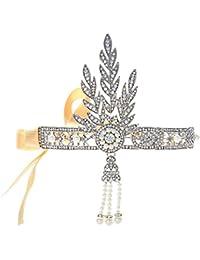 Babeyond® Bling tono plateado El gran Gatsby Inspirado Hoja simulado perla diadema Tiara del pelo