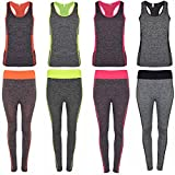VR7 Ladies Womens 2 Pcs Gym Sports Leggings Crop Top Fitness Yoga Pants Set UK 6-18