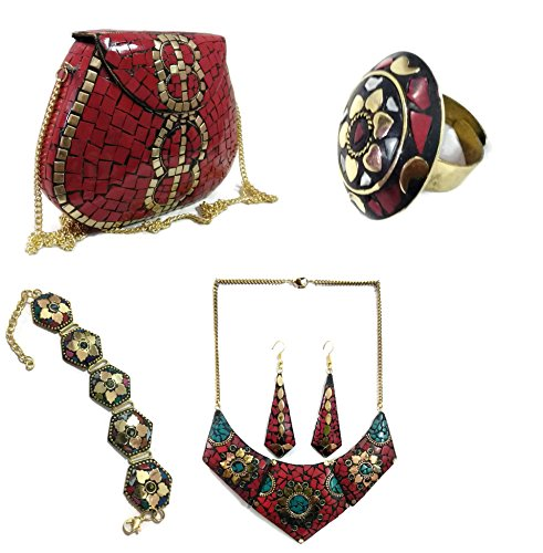 Combo of Red Metal clutch Necklace Adjustable Ring Bracelet Earring set mosaic bag stone Clutch Ethnic Metal box wallet vintage bags