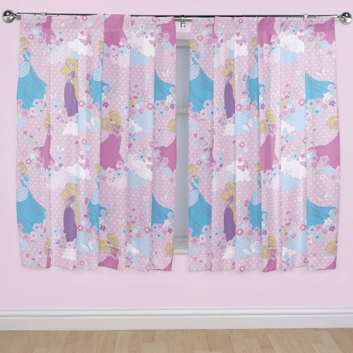 Disney Princess sueños cortinas - 54 pulgadas gota (Polka Dot Rosa Vorhänge)
