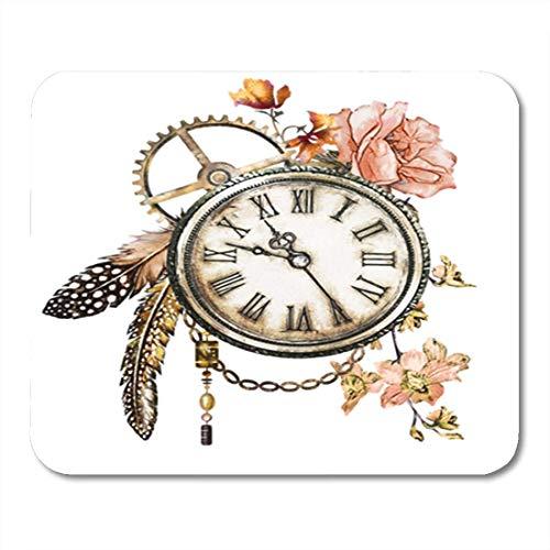 Tattoo-lynx (Gaming Mauspad Steam Punk Watercolor Roses Feathers Clockwork Jewelry Clock Flowers Tattoo 11.8