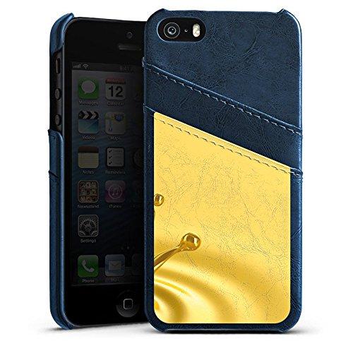 Apple iPhone 4 Housse Étui Silicone Coque Protection Gouttes Or Couronne Étui en cuir bleu marine