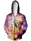 chicolife Unisex Netter Pizza Taco Katze im Raum Sport Jersey Baseball Pullover Kapuzen - Sweatshirt - Jacke X-Large