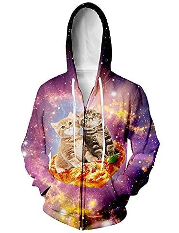 BFUSTYLE Frauen Pizza Cat in Space Jersey Full Zip Kapuzen-Sweatshirt-Jacke