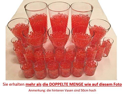 8200 Stück Wasserperlen Crystal Erde - Wasserkugeln Vasenfüller Dekoration Deko - 200Gramm -- für Pflanzen/Glase/Vase - Perlen Kugeln 11-15mm Durchmesser - circa 25 Liter - ROT (Rote Glas Perlen Für Vasen)