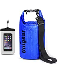 Unigear Gran Oferta 1 Bolsa Seca / estanca Impermeable Flotantes + 1 Funda impermeable Universal para ara iPhone 7 / 7 Plus / 6 / iPhone 6s , iPhone 6 Plus / iPhone 6s Plus , iPhone 5 / 5s , iPhone SE , Samsung Galaxy , LG (Azul Oscuro, 5L)