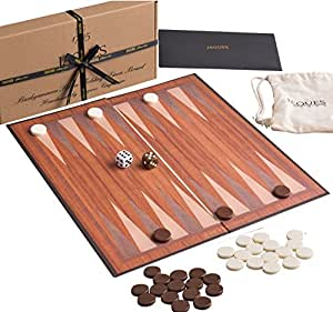 "Jaques of London Backgammon Set for ALL ages. These Travel Backgammon Sets are made from Folding Board - 12"" Backgammon Board with Linen Backing Quality Since 1795"