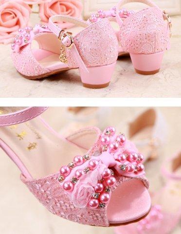 OPSUN Sandales à bride Enfants Filles Chaussure Cérémonie Ballerines à bout ouvert Mariage Escarpin plat Babies blanc B