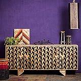 Native Home Sideboard 3D, mit Muster, Modern, Massiv, mit Türen, Mangoholz, Kommode, H x B x T: 75 x 177 x 45 cm, Braun