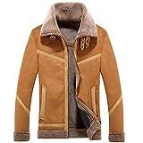 Kanpola Jacke Herren Übergangsjacke Draussen Warme Gefütterte Wintermantel Sweatjacke Sport Parka Outwear Jacken Mantel (48, Braun)