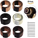 Lictin 6pcs Bun Maker DIY Women Girls Perfect Hair Bun Making Styling French Twist Donut Bun Hairstyle Tool - 6 shades: Blond, Chestnut Color to Brunette with 10 pcs Black Hair Pins