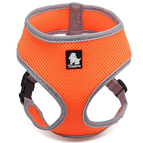 Cane Imbracatura regolabile per animali da compagnia imbracatura imbottito anti-traction e linea riflettenti per cane con manico, arancione,