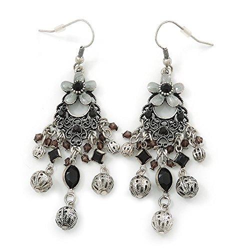 In stile vintage-Stil, smaltato, con motivo floreale in filigrana-bead, Chandelier-Orecchini, Argento Antico-Metall