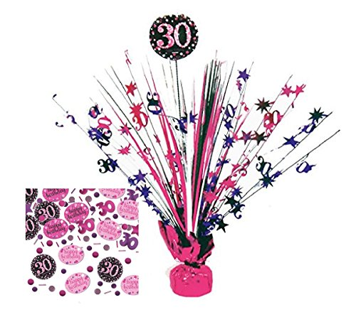 Feste Feiern Geburtstagsdeko Zum 30 Geburtstag | 2 Teile All in One Set Tisch Kaskade Konfetti Pink Schwarz Violett Party Deko Happy Birhday