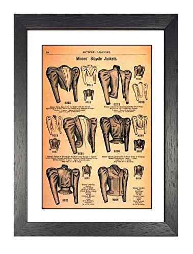 Fahrrad Fashions 18972, gerahmt, A4Poster, Vintage, Foto, Zyklen, Fahrräder, Mode, Grafik, Bild, Schwarz und Weiß, Foto, alt, retro, Druck, Oldschool, -