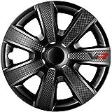 AutoStyle VR Black 16 Hubcap Set Vr 16 Black/Carbon Look/Logo - Car Wheel Trims (Set of 4)