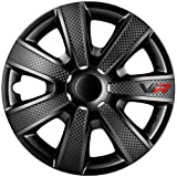 Autostyle VR Negro 14 Set Vr Negro/Carbon Look/Logo - Tapacubos (4 unidades)