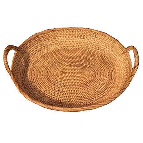 Rattan Fruit Basket Bread Blue Fruit Bowl Steamed Bread Basket Tea Point Basket Snack Basket Candy Basket Living Room Large Tray