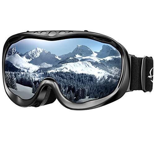 Enkeeo maschera da sci, occhiali da snowboard full frame, anti-nebbia, anti-graffio e anti-vento,100% protezione uv400, telaio curvabile, ideale per sport invernali, unisex (grigio argento)