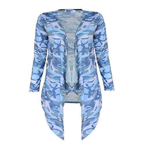 OverDose Damen Unregelmäßige Camouflage Druck Schal Kimono Cardigan Tops Mantel Bluse (S, Camouflage) (Achselzucken Crochet Langarm)
