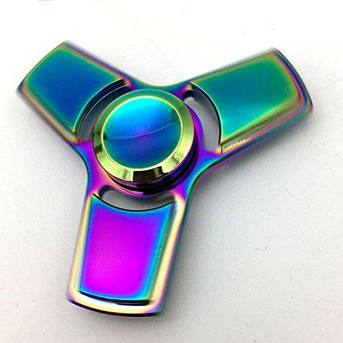 Preisvergleich Produktbild Hand Spinner Spielzeug - Regenbogen Metall Schnelle Geschwindigkeit Tri-Spinner Fidget Spielzeug für Stress und Angst Relief - EDC Office Spielzeug (E)