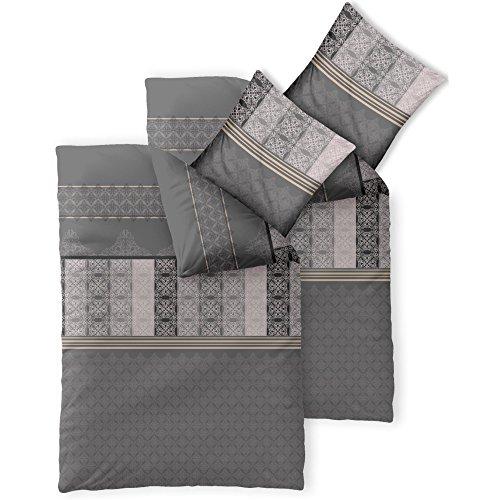 4-tlg. Bettwäsche-SET   verschiedene Größen   4-Jahreszeiten Baumwolle Renforcé OEKO-TEX   4-teiliges SET 135 x 200 cm   CelinaTex 0003716 Fashion 4 teilig Samantha Grau