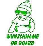 topdesignshop Babyaufkleber mit Wunschname on Board Aufkleber fürs Auto Kinder Baby Sticker