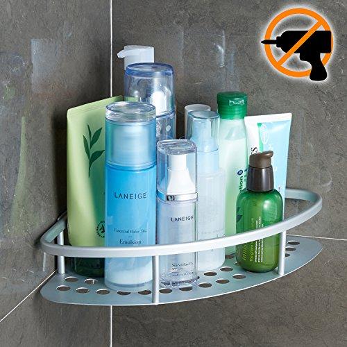 Wangel Eckablage Duschkorb Duschablagen Ohne Bohren für Bad, Patentierter Kleber + Selbstklebender Kleber, Aluminium, Oxidierte Oberfläche, Badregal