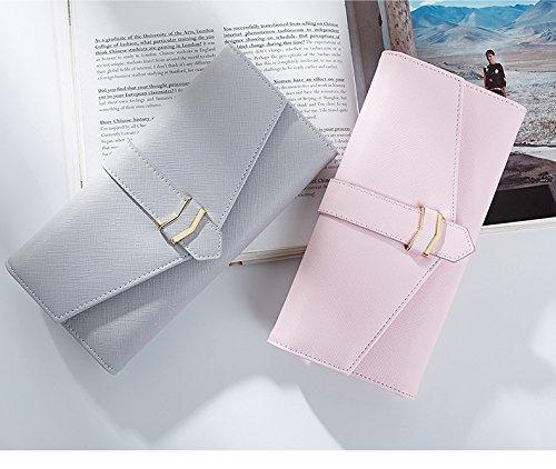 Portafoglio delle Donne più Nuovi - Supporto delle Carte da Parete delle Donne in Cuoio dell'unità di Elaborazione Portafogli Donna Fibbia Frizione Borse Donna (Grigio) Rosa