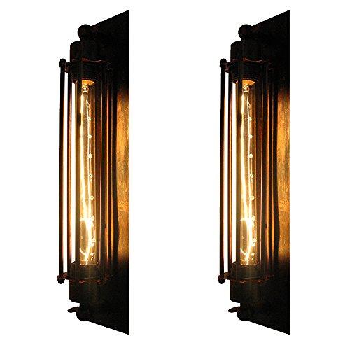 Frideko Rust Retro Industrial Flute Wall Light for Bedside Café Restaurant Pub Club (2 Packs)