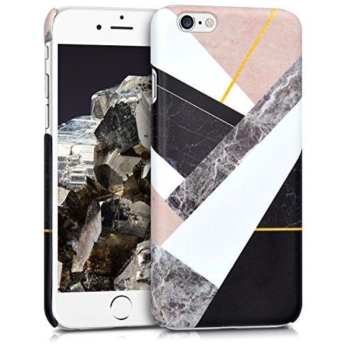 Schwarz-marmor (kwmobile Hülle für Apple iPhone 6 / 6S - Backcover Case Handy Schutzhülle Kunststoff - Hardcase Cover Marmor Mix Design Schwarz Weiß Beige)