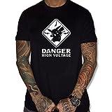 uraeus T-Shirt Humour Danger High Voltage Pokemon Pikachu (M, Noir)