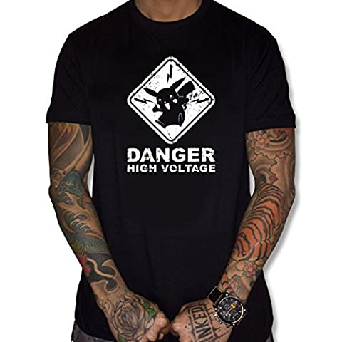 uraeus T-Shirt humour danger high voltage pokemon pikachu (S, NOIR)