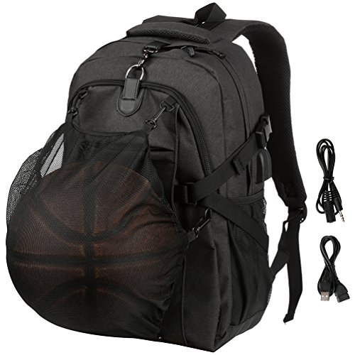Vbiger Rucksack Herren Laptop Rucksack Reise Tagesrucksack mit Basketball Net und USB Ladefunktion für 15.6'' Zoll Notebook Schwarz