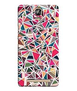 PrintVisa Designer Back Case Cover for Gionee Marathon M5 Plus (Texture Colourful Triangle Piece Diamond)