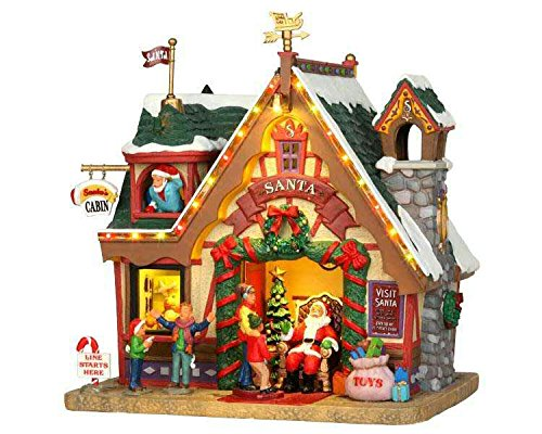 Lemax - Santa's Cabin - 15,5cmx20,7cmx19,2cm - Santas Haus beleuchtet - 4,5V - Porzellan (Porzellan-weihnachtsdorf)