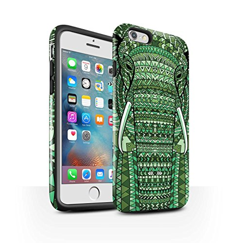 Coque Brillant Robuste Antichoc de STUFF4 / Coque pour Apple iPhone 5/5S / Singe-Couleur Design / Motif Animaux Aztec Collection éléphant-Vert