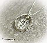 Namenskette, Glaube Liebe Hoffnung, Silberring, Silberkette mit Namen
