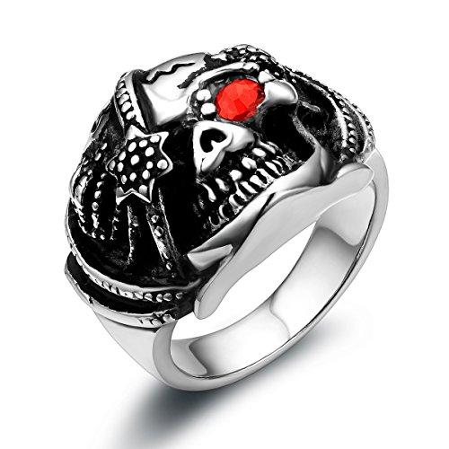 JewelryWe joyería motociclistas inoxidable para hombre-anillo, Gótico Calavera con rojo piratas-cráneo estrella ojos cinta anillo para Halloween Navidad, colour negro plata tamaño 54 hasta 67 - con regalo bolsa