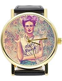 Frida Kahlo Good Vibes Only - Reloj de Piel Estilo Vintage