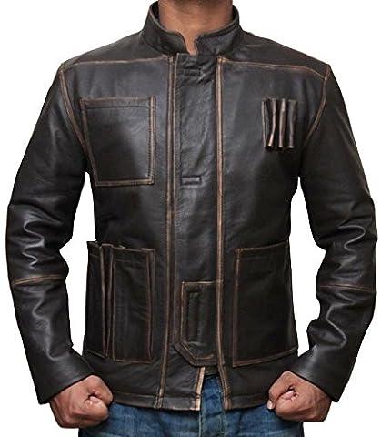 Han Solo Jacket Kostüm Harrison Ford Star Wars Force Erwacht Braune Jacke (M, Brown)