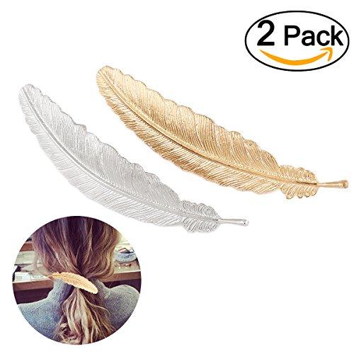 Tinksky Ressort à lame geformte cheveux clip griffe de cheveux Barrettes à cheveux mariage Accessoires (d'or + argent) 2St